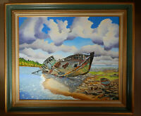 BEACH WRECK original oil on canvas painting artist signed framed ocean ship