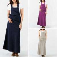 UK Women Sleeveless Long Pinafore Dress Dungaree Strap Overalls Dress Plus Size