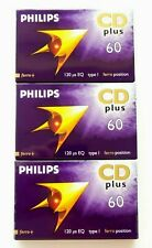 3 X PHILIPS CD PLUS 60 NORMAL POSITION TYPE I BLANK AUDIO CASSETTE TAPES