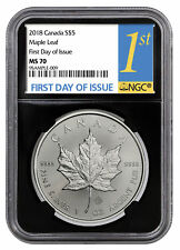 2018 Canada 1 oz Silver Maple Leaf $5 Coin NGC MS70 FDI Black Core SKU52121
