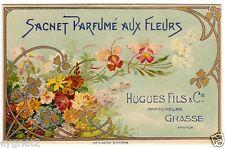 PARFUME SACHET ENVELOPE AUX FLEURS ORCHIDS ART NOUVEAU