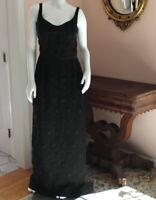 Vintage 1960s Beaded Black Floor Length Sleeveless Long Evening Gown