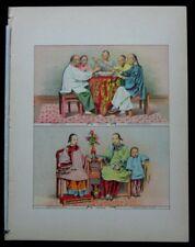 1886 Original Antique Print Chinese at Dinner Seating Ladies Child of China 16