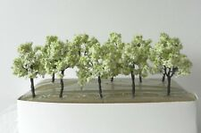 10 x WHITE BLOSSOM IRON WIRE MODEL TREES 9 cm SCENERY FOR MODEL RAILWAY HO SCALE