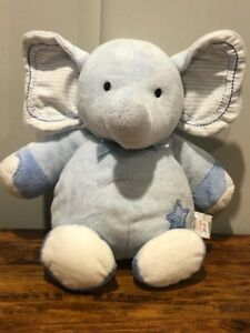 Carter's JUST ONE YOU Blue Elephant Blue Ribbon Musical Crib Pull Toy Plush