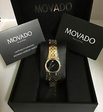 Women's Movado Faceto Gold Tone Factory Diamond Swiss Watch
