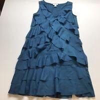 LOFT Teal Blue Sleeveless Ruffle Dress Size 4 A1483