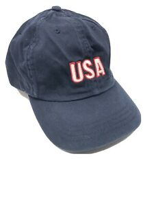 New Blue Hat Cap Adjustable Faded Look One Size Fits All USA Embroidered.