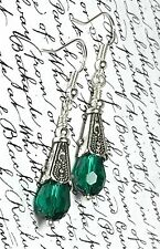 Quality Earrings Vintage Style Emerald Green Drop Silver Present Gift FREE P&P
