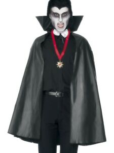 Vampire Cape Adults Black 114cm Long Gothic Fancy Dress Accessory