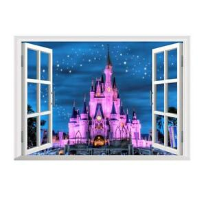Cartoon Princess Magic Castle Night 3D Window Wall DecalsGirl Kids Sticker Mural