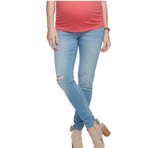 A Glow Maternity Ripped Jegging, Light Wash with Fully Belly Band