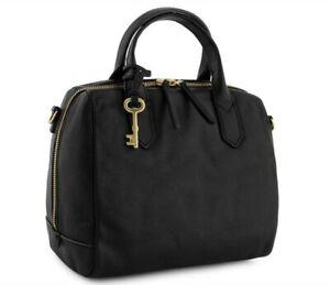 BRAND NEW BLACK LEATHER FOSSIL FIONA SATCHEL CROSS BODY HAND BAG