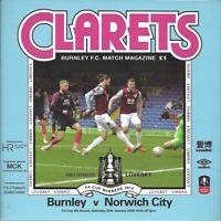 Burnley v Norwich City 25th January 2020 FA Cup Match Programme 2019/20
