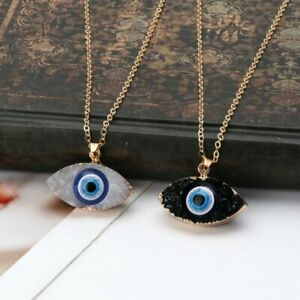 Gold Charm Pendant Turkish Evil Eye Necklace Fashion Lady Crystal Luck Jewellery