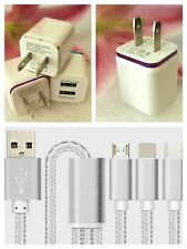 1Set 3 in 1 Multiple USB Charging Micro Cable + Double USB AC Adapter For iPhone