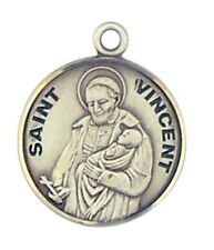 Patron Saint St Vincent 7/8 Inch Sterling Silver Medal on Rhodium Plated Chain