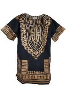 Black and Gold Traditional African Dashiki Shirt