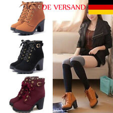 DE Damen Zip Schnallen Kurzschaft Stiefel Lace up Boots Blockabsatz Mode Schuhe