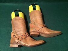 Patrizia Pepe Genuine Leather Brown Croc Western Ankle Boots Size 38/US 7-7.5
