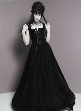 Women FRONT LACE Renaissance Dress COSTUME BLACK Velvet SM MED LRG Plus avail