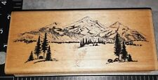 Mountain range, embossing arts,E4,wooden, rubber stamp
