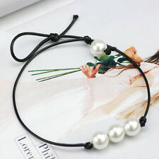 Women Black Leather Cord Pearl Beads Charm Necklace Choker Sizable Jewelry Gift
