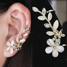 Pretty Rhinestone Flower Ear Cuff Earring,Clip,Leafs,Gift Idea,Stud,Gold,Left