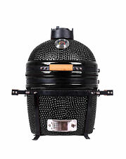 YNNI 15.7 inch Black Kamado Oven BBQ Grill Egg with Stand NEW MODEL TQ0015BL