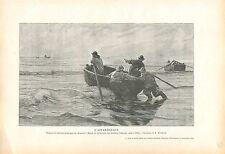 Pêcheurs Barque Plage de Berk Charles Roussel peintre GRAVURE ANTIQUE PRINT 1914