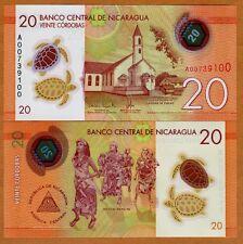 Nicaragua, 20 cordobas, 2014 (2015), Pick New, POLYMER New Design, UNC