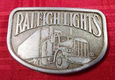 Metal Belt Buckle Vintage Raleigh Lights Cigarettes Tractor Trailer Big Rig