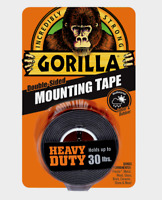 """NEW! Gorilla Heavy Duty MOUNTING TAPE Double-Sided Black Holds 30 lbs 1"""" x 60"""" L"""