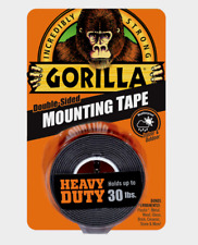 "Gorilla Heavy Duty MOUNTING TAPE Double-Sided Black Holds 30 lbs 1"" x 60"" L NEW!"