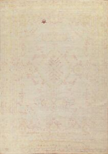 Muted Vegetable Dye Geometric Oushak Oriental Turkish Area Rug Hand-knotted 8x10