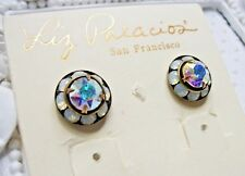 New Liz Palacios White Opal & Clear ABX2 Colors Swarovski element earrings