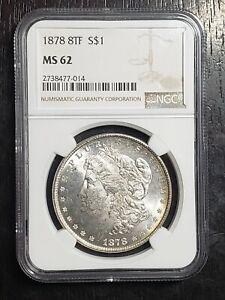 1878 8TF Morgan Silver Dollar NGC Graded MS62 - US Coins