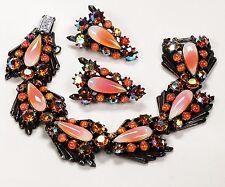 Florenza AB Rhinestone Japanned Orange Peach Art Glass Bracelet Earring Set Mint