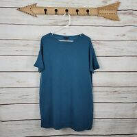 Eileen Fisher | Teal Blue 100% Cashmere Oversized Short Sleeve Top Size Small...