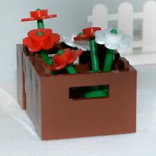 LEGO Decor: Flower Box - Brown Planter Box w/ Red & White Flowers  [house,parts]