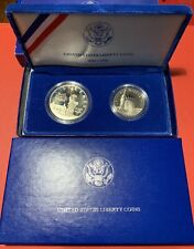 1986 US Mint Dollar Half Dollar Liberty Coins 2 Piece Proof Commemorative Set