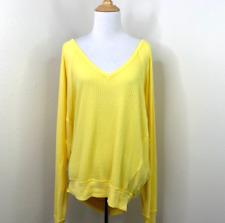 Free People Shirt Size L Santa Clara Thermal Slouchy Yellow Dolman Sleeves $68