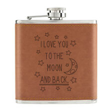 I Love You To The Moon And Back 6oz PU Leather Hip Flask Tan - Valentines Day