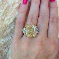 6.30 CT Yellow Cushion Halo Diamond Engagement Ring 14K White Gold Enhanced