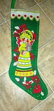 Lg Mid Century Vtg Xmas Stocking, Lithographed Bright Colored Flower Power Girl