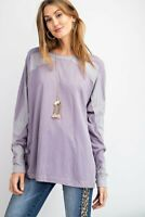 Easel Dusty Lilac Contrast Detail Long Sleeve Knit Top