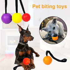 Rubber Training Ball Chew Toys Bite Solid Teeth Pet Dog With Carrier Rope g8
