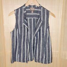 Chico's 100% Linen Open Front Striped Vest. 4