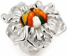 Alan K. St/Silver Ring Multicolor Murano Glass Round Stone on Open Flower Shape