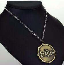 "The Beatles Pendant 20"" Necklace + Chain Rock Music 2"" dia Round BronzeTone PLN"